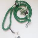 Zöld színű kötél póráz , Állatfelszerelések, Kutyafelszerelés, Fonás (csuhé, gyékény, stb.), Zöld színű pamut kötél póráz, 123 cm hosszú és 12 mm átmérőjű. Az alapanyagot,vagyis a pamut kötele..., Meska