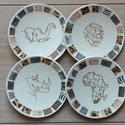 Afrika 4 db-os poháralátét szett, Konyhafelszerelés, Edényalátét, Festett tárgyak, 4 db-os poháralátét szett Afrika stílusban.  A parafaalapot akrilfestékkel festettem be, majd szalv..., Meska