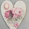 Vintage rózsás szív dekoráció/ajtódísz, Dekoráció, Otthon, lakberendezés, Dísz, Ajtódísz, kopogtató, Decoupage technikával készült rózsás dekoráció/ajtódísz vintage stílusban.  Festettem, dek..., Meska