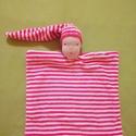 Csíkos Csilla alvómanó, Baba-mama-gyerek, Játék, Gyerekszoba, Baba játék, Baba-és bábkészítés, Varrás, Rózsaszínű-fehér csíkos, bébiplüssből készült alvóka gyerekeknek.  A szeme, és szája hímzéssel kész..., Meska