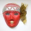 Álarc piros, Farsangi jelmez, 18x24 cm-es méretű  álarc. Az álarcot akril festékkel papír alapra festettem. Díszítése: or..., Meska