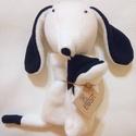 Fekete-fehér polár alvó kutya, Baba-mama-gyerek, Játék, Gyerekszoba, Baba játék, A kutyust fekete és fehér polár anyagból kézi és gépi varrással készítettem.  Vatelin goly..., Meska