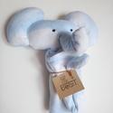 Kék színű, felhő mintás elefánt báb, Baba-mama-gyerek, Játék, Gyerekszoba, Báb, Az elefánt bábot felhőcske mintás polár anyagból készítettem. A báb belseje bélelt. A fej vatelinnel..., Meska