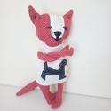 Piros Macsó Macsek : ), Játék, Játékfigura, A macst piros- fehér babos kárpitszerű erős anyagból varrtam, vatelinnel tömtem.  A macs fehér kutyá..., Meska