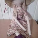 Rózsás ruhás öltöztethetős baba kalappal /80 CM MAGAS, Baba-mama-gyerek, Játék, Gyerekszoba, Baba, babaház, Az öltöztethetős baba natúr len anyagból készült, töltete vatelin golyócska. Haja gyapjú, és kevert ..., Meska