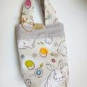 Nyuszi mintás kis táska kislányoknak, Táska, Szatyor, A kislánytáskát beige, nyuszi mintás vászon anyagból varrtam, Kifordítva, a belseje is használható. ..., Meska