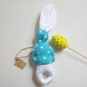 Fehérfülű pöttyös  NYÚL ÚR : ), Húsvéti díszek, A nyuszit vászon anyagból varrtam, töltete vatelin.  magassága: 22 cm fülecske: 13 cm. Lehet de..., Meska