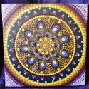 A teljesség mandalája / Mandala / Falikép, kép, Otthon & Lakás, Dekoráció, Mandala, Festészet, A teljesség mandalája - lila, sárga és narancs színek árnyalatával készült egy kolléganőm már meglé..., Meska