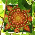 Festmény, mandala, Otthon & Lakás, Dekoráció, Mandala, Festészet, Nyár, napsütés, szőlőlugas ihlette vidám mandala.  25x25 cm (A szállítás bizonyos esetekben ingyene..., Meska