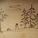 Téli táj - nagy tál, Konyhafelszerelés, Tálca, Erre a nagy fatálra egy kedves barátom rajzát égettem meg. A téli tájban megbúvó kis állatkáktól iga..., Meska