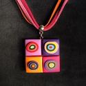 Lila négyzetes nyaklánc, Kézzel készített,egyedi,vidám színű nyaklán...