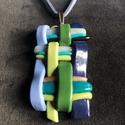 Kék fonott nyaklánc, Kézzel készített,egyedi,különleges nyaklánc ...