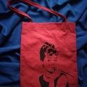 Piros színű válltáska 'Audrey Hepburn' mintával, Táska, Szatyor, Válltáska, oldaltáska, Varrás, Mindenmás, Piros színű textil anyagból, kézzel varrt táska. A táskára a minta kézzel festett, textilfesték fel..., Meska