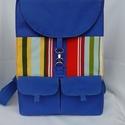 Kék,csíkos hátizsák,hátitáska