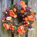 Őszi terméskoszorú,ajtódísz, Otthon, lakberendezés, Dekoráció, Ajtódísz, kopogtató, Koszorú, Szalma alapra ,tobozok,termések,bogyók,selyemvirág,moha felhasználásával készítettem ezt a s..., Meska