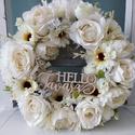 """""""Hello Tavasz""""virágkoszorú,ajtódísz, Selyemvirágokból készítettem a koszorút fehé..."""