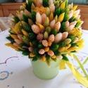 Asztaldísz bádogkaspóban(sárga), Többféle szárazvirágból készítettem az aszt...