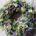 Romantikus,tavaszi virágkoszorú,ajtódísz, Apró virágok és rengeteg zöld felhasználásá...