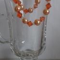 Barack-narancs kör karkötő, Ékszer, Karkötő, Barack tekla és narancs színű csiszolt  gyöngyből gumis damilra fűzött karkötő., Meska