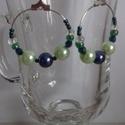 Kék-zöld fülbevaló, Ékszer, Fülbevaló, Kék-zöld gyöngyökből készített fülbevaló., Meska
