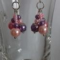 Lila-rózsaszín fülbevaló, Ékszer, Fülbevaló, Ékszerkészítés, Lila és rózsaszín gyöngyökből készült fülbevaló., Meska