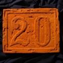 20-as házszám tábla, faragott, feliratos 1,5 cm vastagra vágva, Otthon, lakberendezés, Utcatábla, névtábla, Kerámia, Kőfaragás, Rendelhető:  A kezdőkép stílusában   Antik téglába faragott  tetszés szerinti házszám tábla, utcané..., Meska