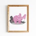 Doroti a rózsaszín elefánt, Képzőművészet, Baba-mama-gyerek, Illusztráció, Gyerekszoba, Doroti digitális grafikával készült elefánt. Nagyszerű dekoráció lehet egy csajos gyerekszob..., Meska