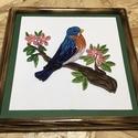 Madaras quilling kép fa kerettel, Dekoráció, Képzőművészet, Kép, Vegyes technika, Famegmunkálás, Papírművészet, Kék madár tavaszi faágon quilling technikával elkészítve. A fa keret saját kezüleg készített, égete..., Meska