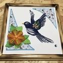 Kék madaras quilling kép, Dekoráció, Képzőművészet, Kép, Vegyes technika, Quilling technikával készült madár virággal, mintás háttérrel. A keret saját kezüleg kész..., Meska
