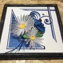 Virágos quilling fa kerettel, Dekoráció, Képzőművészet, Kép, Vegyes technika, Margaréta és búzavirág quilling technikával elkészítve, mintás kék kompozícióban. A keret..., Meska