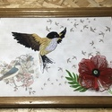 Madar vintage stílusú kép, Művészet, Festmény vegyes technika, Festmény, Famegmunkálás, Papírművészet, A madár és a virág quilling technikával készült. Megrendelésre, egyedi igényeknek megfelelően rende..., Meska
