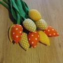 Textil tulipáncsokor, Dekoráció, Csokor, Varrás, Vidám citrom- és narancssárga, bimbós tulipáncsokor. A csokor 9 szálból áll. Ajándékba, dekorációna..., Meska