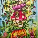Tündértorony 2. selyemkép, Baba-mama-gyerek, Dekoráció, Gyerekszoba, Kép, Selyemfestés, Színes, mesés selyemkép. Kedves, tündéres hangulat gyerekszobába kis manóknak. Ablakban a fényekkel..., Meska