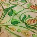 Úri hímzés mintával, kézzel festett selyemsál, Magyar motívumokkal, Ruha, divat, cipő, Női ruha, Kendő, sál, sapka, kesztyű, 40x150cm méretű kézzel festett selyem sál. A különleges úri hímzés gazdag motívumaiból rajzoltam a m..., Meska