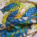 Föld-Sárkány kézzel festett természetes selyem sál, Ruha, divat, cipő, Kendő, sál, sapka, kesztyű, Kendő, 40x150cm méretű kézzel festett selyem sál. Kínai sárkány különleges kékekkel, zöldekkel, kontrasztos..., Meska