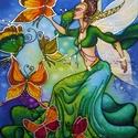 Pillangó-tündér selyemkép, Dekoráció, Képzőművészet, Otthon, lakberendezés, Kép, Selyemfestés, Varrás, Színes, mesés, játékos, egyedi, kézzel festett selyemkép, álmodozó kicsiknek és nagyoknak. Natúr és..., Meska