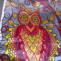Bagoly-fa kézzel festett selyem sál, Ruha, divat, cipő, Kendő, sál, sapka, kesztyű, Kendő, 40x150cm méretű kézzel festett selyem sál. Az oly népszerű bagoly-motívum meleg őszi színek..., Meska