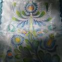 Jászsági mintával festett selyem sál kék árnyalatokkal, Magyar motívumokkal, Ruha, divat, cipő, Női ruha, 40x150cm méretű kézzel festett selyem sál. Az összegyűjtött jászsági motívumokból saját ..., Meska