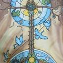 Ősi mesék visszhangja kézzel festett selyem sál, Ruha, divat, cipő, Magyar motívumokkal, Kendő, sál, sapka, kesztyű, Kendő, Selyemfestés, 45x140cm méretű kézzel festett selyem sál. Saját ötlet, elképzelés alapján rajzolt-festett selyemsá..., Meska