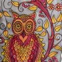 Bagoly-fa kézzel festett selyem sál, Ruha, divat, cipő, Kendő, sál, sapka, kesztyű, Kendő, Selyemfestés, 40x150cm méretű kézzel festett selyem sál. Az oly népszerű bagoly-motívum meleg őszi színekben, kon..., Meska