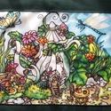 Manólak - kannácska, Dekoráció, Képzőművészet, Otthon, lakberendezés, Kép, Színes, mesés egyedi, kézzel festett selyemkép saját ötlet, elképzelés alapján. Belső mese..., Meska