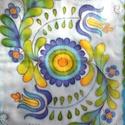 Jászsági hímzés mintával, kézzel festett selyemsál kék árnyalatokkal, Magyar motívumokkal, Ruha, divat, cipő, Női ruha, 40x150cm méretű kézzel festett selyemsál. Az összegyűjtött jászsági motívumokból, hímzésekből saját ..., Meska