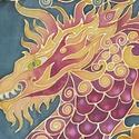 Tűz-Sárkány kézzel festett valódi selyem sál, Ruha, divat, cipő, Kendő, sál, sapka, kesztyű, Kendő, Női ruha, 40x150cm méretű kézzel festett selyem sál. Kínai sárkány meleg narancs, piros színekkel, kon..., Meska