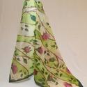 Rózsakert kézzel festett selyemkendő, Ruha, divat, cipő, Női ruha, Kendő, sál, sapka, kesztyű, Kendő, 90x90cm  kézzel festett 100% selyemkendő. Rózsák a friss zöld háttérben, vibráló, izgalmas,..., Meska