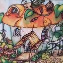Manólak - csészekuckó kézzel festett selyem falikép, Dekoráció, Képzőművészet, Otthon, lakberendezés, Kép, Színes, mesés egyedi, kézzel festett selyemkép saját ötlet, elképzelés alapján. Belső mesevilágomból..., Meska