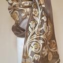 Rábaközi hímzés motívumaival kézzel festett természetes selyemsál, Magyar motívumokkal, Ruha, divat, cipő, Női ruha, 40x150 cm 100% selyem sál. A sál mintáját a gazdag Rábaközi hímzés motívumvilágából válogattam, fűzt..., Meska