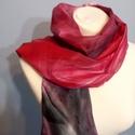 Piros - fekete kézzel festett természetes selyem sál, Ruha, divat, cipő, Női ruha, Kendő, sál, sapka, kesztyű, 45x180 cm kézzel festett 100% természetes selyemsál. Piros árnyalatok átmenete a bordón át a ..., Meska