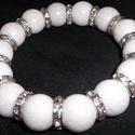 Fehér Jade karkötő ezüst-fehér színű kristályos köztesekkel, Ékszer, Nyaklánc,     Fehér Jade karkötő ezüst-fehér színű kristályos                              köztesekkel  Az ásv..., Meska