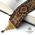 Könyvbarát könyvjelző - barna arany középkori hangulatú díszszalag, réz chainmaille