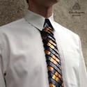 Sárkánypikkely nyakkendő - bronz fekete extravagáns férfiaknak, Férfiaknak, Vőlegényes, Mindenmás, A nyakkendő fő alapanyagát a speciálisan felületkezelt (bronz és fekete színű) alumínium pikkelyek ..., Meska
